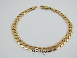 VINTAGE 9ct GOLD FLAT CURB LINK BRACELET C. 1990