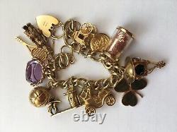 VINTAGE 9ct YELLOW GOLD CHARM BRACELET 11 CHARMS 58.68 Grams