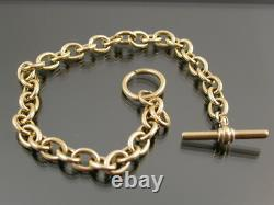 VINTAGE SOLID 9ct GOLD CABLE LINK BRACELET T-Bar & Ring Clasp C. 1990