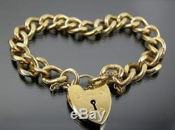 VINTAGE SOLID 9ct GOLD CURB LINK BRACELET 1966 Heart Padlock Clasp