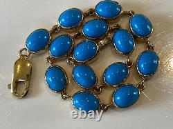 Very Beautiful Vintage 9ct Gold Turquoise Bracelet