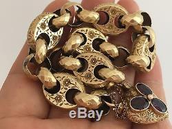 Victorian 9CT Gold Fancy Link Floral Garnet Heart Padlock Bracelet