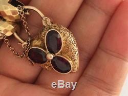 Victorian 9CT Gold Fancy Link Floral Garnet Heart Padlock Bracelet(R1197)