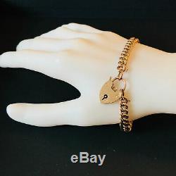 Victorian 9ct, 9k, 375 Rose Gold curb link bracelet with padlock, 7.5 19cm