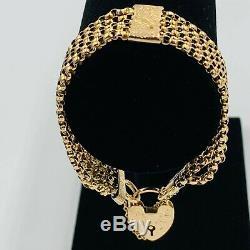 Victorian 9ct Gold 6 Strand Belcher Link 6 Bracelet Heart Lock Fastener #760