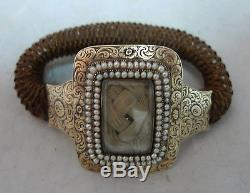 Victorian 9ct Gold & Seed Pearl Mourning Bracelet 15g A602017