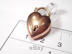 Victorian 9ct Rose Gold Bulbous Heart Padlock Clasp Pendant