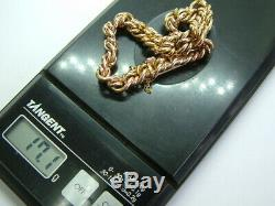 Victorian 9ct Rose Gold Chunky Double Knotted Link Bracelet 7.25 Inches