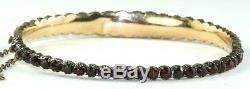 Victorian Antique 9ct 10k Gold Bohemian Garnet Bangle Bracelet