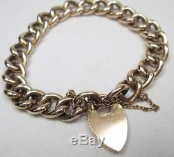 Victorian Antique 9ct Rose Gold Curb Charm Heart Padlock Bracelet Original Box
