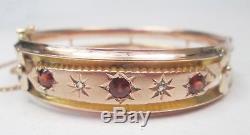 Victorian Antique 9ct Rose Gold Diamond & Garnet Hinged Bangle Bracelet
