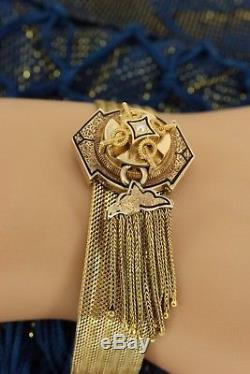 Victorian Double Tassel Enamel 9ct 14k 18ct Gold Mesh Slide Bracelet. NICE1