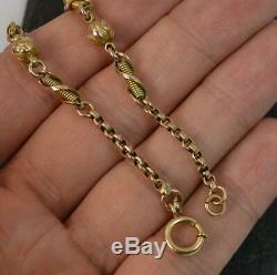 Victorian Fancy Link 9ct Gold 7 Long Bracelet p1809