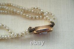Victorian carved white coral cameo natural pearls rose gold clasp bracelet