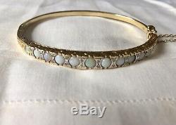 Victorian style opal & diamond bracelet hinge bangle 9ct gold English hallmarks