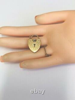 Vintage 1970s 9ct Yellow Gold Engraved Opening Heart Padlock For Bracelet