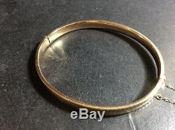 Vintage 9Ct Gold Hinged Bangle, 7.0g, Approx. 7inch, HM 9Ct