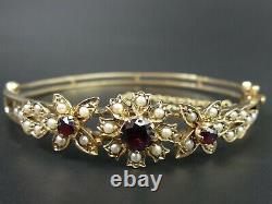Vintage 9 Ct Gold Garnet & Seed Pearl Bangle Bracelet C. 1970 17.7 Grams