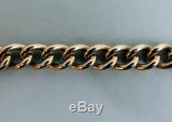 Vintage 9 Ct Rose & Yellow Gold Solid Curb Link Gate Bracelet London 1974-24.6 G