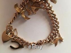 Vintage 9ct/375 Solid Gold Charm bracelet