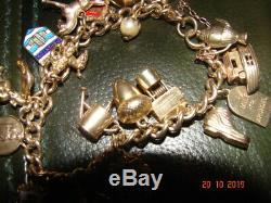 Vintage 9ct Gold Charm Bracelet 42.3 Grams