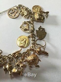 Vintage 9ct Gold Charm Bracelet 42.72gr
