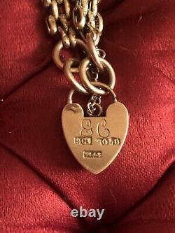 Vintage 9ct Gold Heart Padlock Bracelet