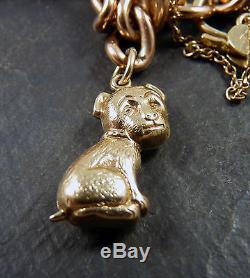 Vintage 9ct Gold Heavy Charm Bracelet 26g 1960s / 70s