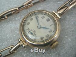 Vintage 9ct Gold Ladies Rolex Wristwatch On 9ct Bracelet