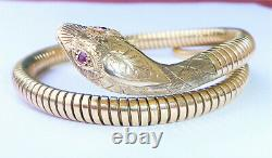 Vintage 9ct Gold Smith & Pepper Coiled Snake Bracelet with Ruby Eyes