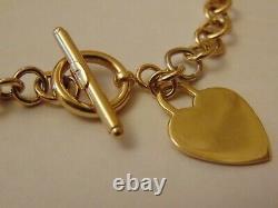 Vintage 9ct Gold T-Bar Love Heart Chain Bracelet Hallmarked 6.9g 7 6mm GIFT BOX