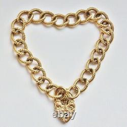 Vintage 9ct Gold Textured Curb Bracelet with Heart Padlock Clasp c1992 25.0g