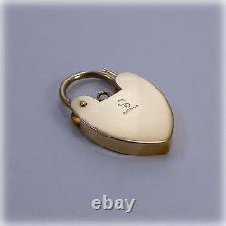 Vintage 9ct Gold hand-engraved Heart Padlock Fastener for Charm Bracelet