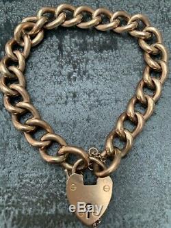 Vintage 9ct Rose Gold Curb Link Bracelet & Clasp Every Link Hallmarked Not Scrap