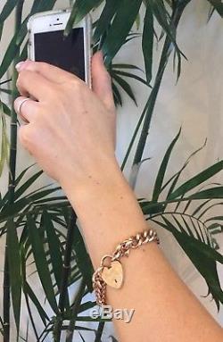 Vintage 9ct Rose Gold Curb Link Bracelet Heart Padlock HEAVY