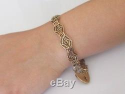 Vintage 9ct Rose Gold Gate Ornate Bracelet, Padlock & Safety Chain (7inches)