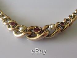 Vintage 9ct Rose Gold Ruby and Seed Pearl Curb Bracelet (with safety chain)