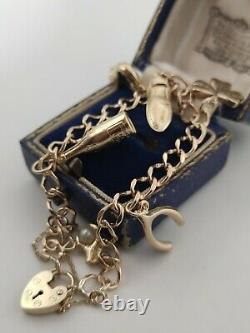 Vintage 9ct Yellow Gold 6 Charm Curb Link Bracelet