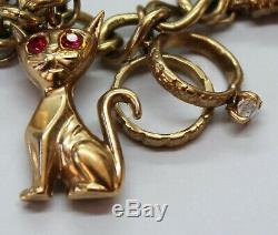 Vintage 9ct Yellow Gold Charm Bracelet With 12 Charms