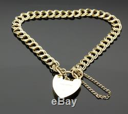 Vintage 9ct Yellow Gold Double Curb Padlock Bracelet 1973