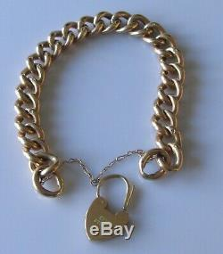 Vintage 9ct gold hollow night & day curb bracelet & heart shape padlock 17.0g