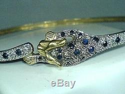 Vintage 9ct hallmarked Yellow Gold Diamond & sapphire panther leopard bangle