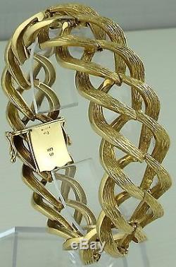Vintage 9ct solid gold 7.25 inch ladies bracelet Weighs 42.3 grams