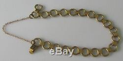 Vintage 9ct yellow gold (9.5g) bracelet and safety chain (7inches)