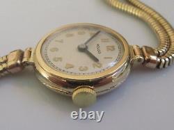 Vintage 9ct yellow gold Rolco ladies manual winding watch