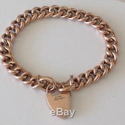 Vintage Antique 9ct Rose Gold Curb Floral Link Padlock Bracelet 16.76gms