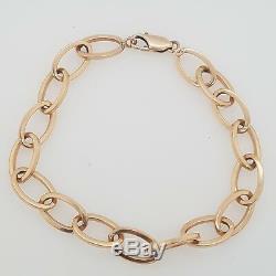 Vintage Bracelet 9ct Rose Gold 19.5cm Oval Cable Hollow Link Preloved 4.90g