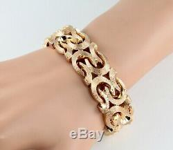 Vintage Chunky 9Ct 9K Rosey Gold Flat Fancy Link Bracelet