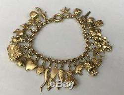 Vintage Hallmarked 9ct 9k Yellow Gold Charm Bracelet 26 Charms 38.9g Bolt Ring
