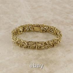 Vintage Heavy Abstract Bracelet 9ct Yellow Gold